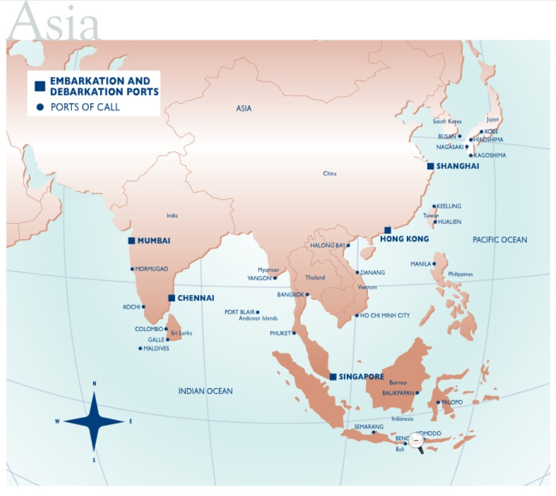 Ports Of Call Asia Map Unique Vacations Cool
